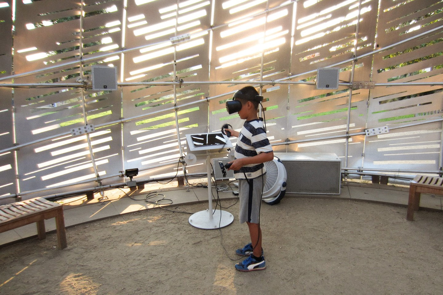 Visitors experincing InOrbit within the Orbit Pavilion